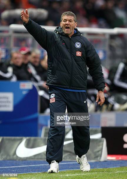 Head coach Friedhelm Funkel of Berlin reacts during the Bundesliga match between Hertha BSC Berlin and 1FC Nuernberg at Olympic Stadium on March 13...