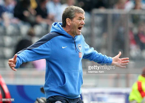Head coach Friedhelm Funkel of Berlin reacts during the Bundesliga match between Hertha BSC Berlin and FC Schalke 04 at Olympic Stadium on April 24...