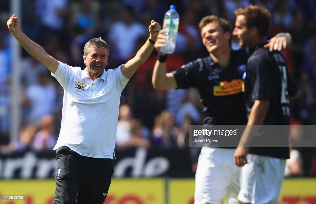 Head coach <a gi-track='captionPersonalityLinkClicked' href=/galleries/search?phrase=Friedhelm+Funkel&family=editorial&specificpeople=649153 ng-click='$event.stopPropagation()'>Friedhelm Funkel</a> of Bochum celebrates after his team scored the third goal during the Second Bundesliga match between VfL Osnabrueck and VfL Bochum at Osnatel Arena on May 8, 2011 in Osnabruck, Germany.