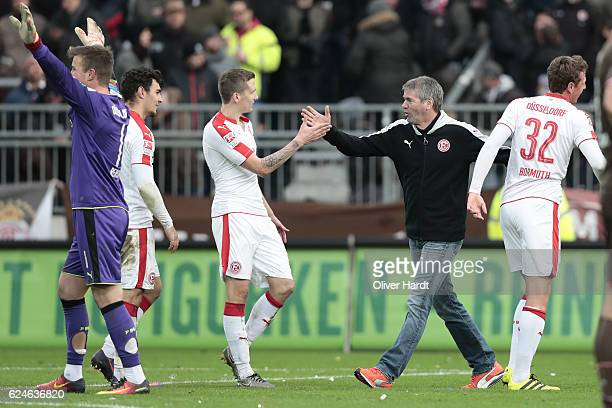 Head coach Friedhelm Funkel of Duesseldorf celebrate after the Second Bundesliga match between FC St Pauli and Fortuna Duesseldorf at Millerntor...