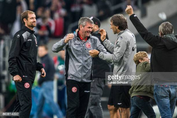 Head Coach Friedhelm Funkel of Duesseldorf celebrates the win of his team after the Second Bundesliga match between Fortuna Duesseldorf and SV...