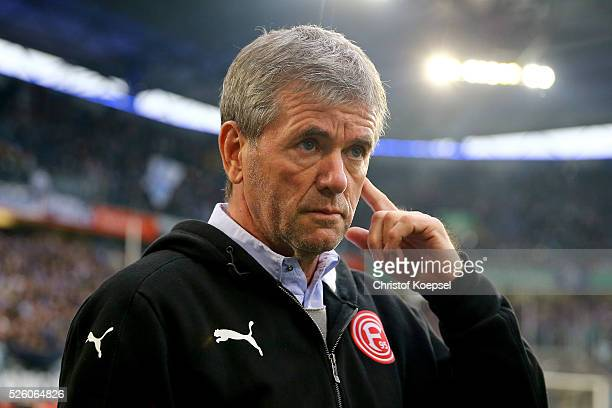 Head coach Friedhelm Funkel of Duesseldorf looks on prior to the 2 Bundesliga match between MSV Duisburg and Fortuna Duesseldorf at...