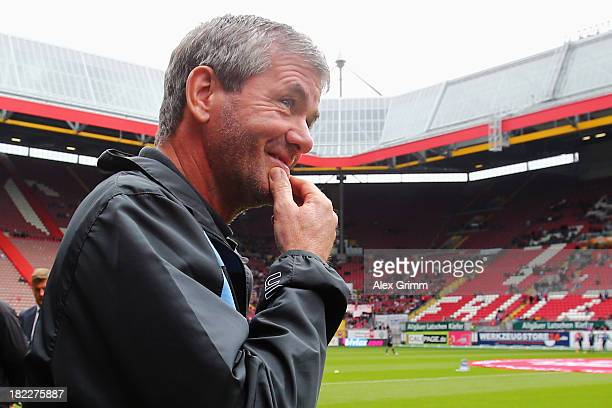 Head coach Friedhelm Funkel of Muenchen looks on prior to the Second Bundesliga match between 1 FC Kaiserslautern and 1860 Muenchen at...