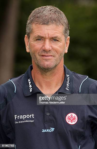 Head coach Friedhelm Funkel poses during the 1st Bundesliga Team Presentation of Eintracht Frankfurt at the Commerzbank Arena on July 17 2008 in...