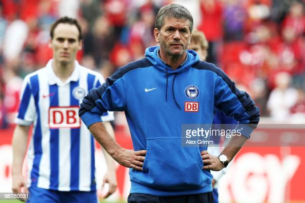 Head coach Friedhelm Funkel reacts after the Bundesliga match between Bayer Leverkusen and Hertha BSC Berlin at the BayArena on May 1 2010 in...