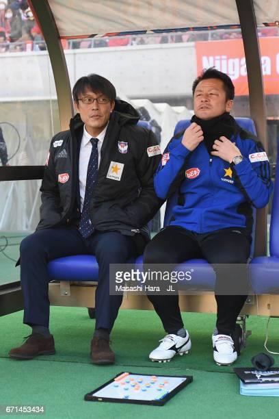 Head coach Fumitake Miura of Albirex Niigata looks on prior to the JLeague J1 match between Albirex Niigata and FC Tokyo at Denka Big Swan Stadium on...