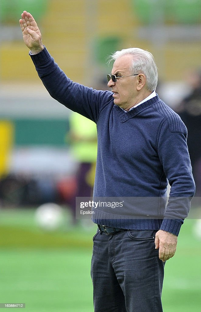Head coach Gadzhi Gadzhiyev of FC Krylia Sovetov Samara gestures during the Russian Premier League match between FC Anzhi Makhachkala and FC Krylia Sovetov Samara at the Anzhi Arena Stadium on March 17, 2013 in Kaspiysk, Russia.