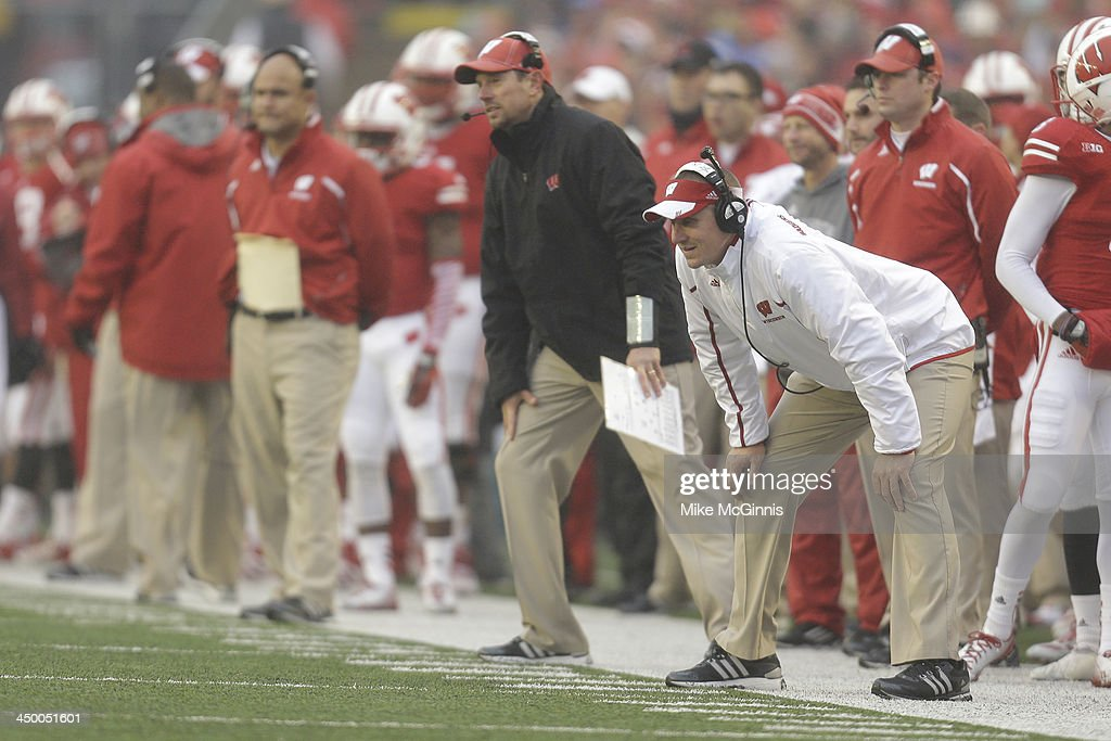 Head Coach Gary Andersen of the Wisconsin Badgers watches Kyle French kick an extra point in the first half of play against the Indiana Hoosiers at Camp Randall Stadium on November 16, 2013 in Madison, Wisconsin.