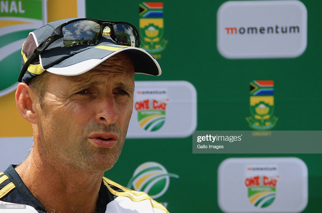 Head coach Gary Kirsten is interviewed during the South African national cricket team nets session and press conference at Claremont Cricket Club on January 17, 2013 in Cape Town, South Africa.