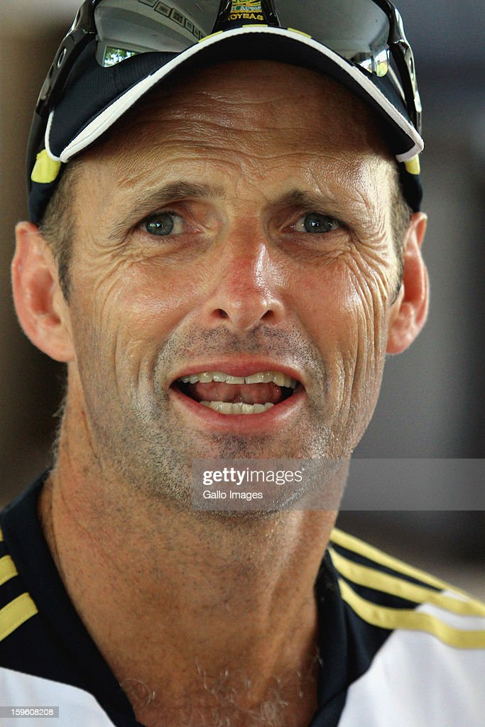 Head coach <a gi-track='captionPersonalityLinkClicked' href=/galleries/search?phrase=Gary+Kirsten&family=editorial&specificpeople=228142 ng-click='$event.stopPropagation()'>Gary Kirsten</a> is interviewed during the South African national cricket team nets session and press conference at Claremont Cricket Club on January 17, 2013 in Cape Town, South Africa.