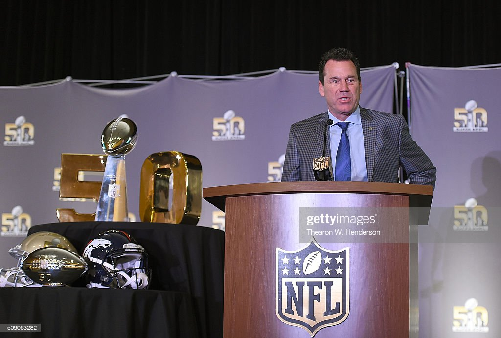 Head Coach <a gi-track='captionPersonalityLinkClicked' href=/galleries/search?phrase=Gary+Kubiak&family=editorial&specificpeople=614731 ng-click='$event.stopPropagation()'>Gary Kubiak</a> of the Denver Broncos addresses the media during the Super Bowl 50 MVP trophy presentation at the Moscone Center West on February 8, 2016 in San Francisco, California. Von Miller #58 of the Broncos was the games MVP.