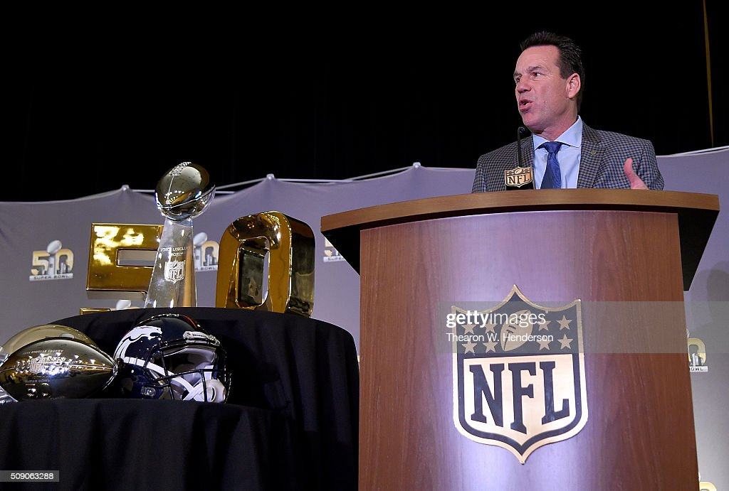Head Coach Gary Kubiak of the Denver Broncos addresses the media during the Super Bowl 50 MVP trophy presentation at the Moscone Center West on February 8, 2016 in San Francisco, California. Von Miller #58 of the Broncos was the games MVP.