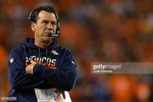 Head coach Gary Kubiak of the Denver Broncos during the game against the Houston Texans at Sports Authority Field at Mile High on October 24 2016 in...