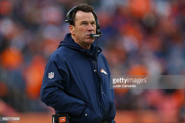 Head coach Gary Kubiak of the Denver Broncos in the third quarter of the game against the Oakland Raiders at Sports Authority Field at Mile High on...