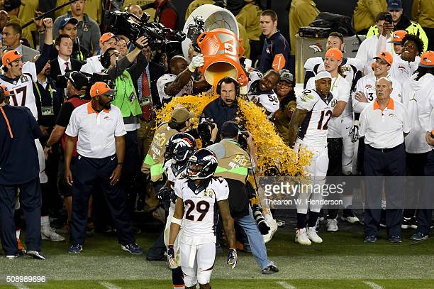 Head coach Gary Kubiak of the Denver Broncos is splashed with Gatorade in the final moments of Super Bowl 50 at Levi's Stadium on February 7 2016 in...
