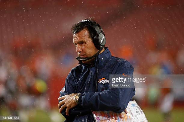 Head coach Gary Kubiak of the Denver Broncos looks on from the sidelines in the final moments of the fourth quarter of an NFL game against the Tampa...