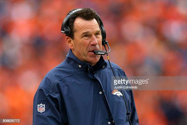 Head coach Gary Kubiak of the Denver Broncos looks on in the fourth quarter against the New England Patriots in the AFC Championship game at Sports...