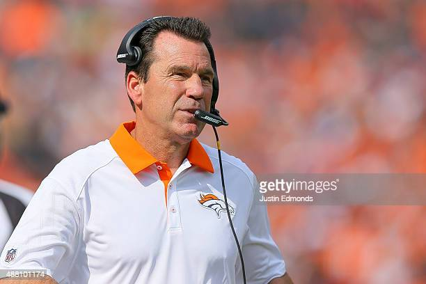Head coach Gary Kubiak of the Denver Broncos looks on in the second quarter of a game against the Baltimore Ravens at Sports Authority Field at Mile...