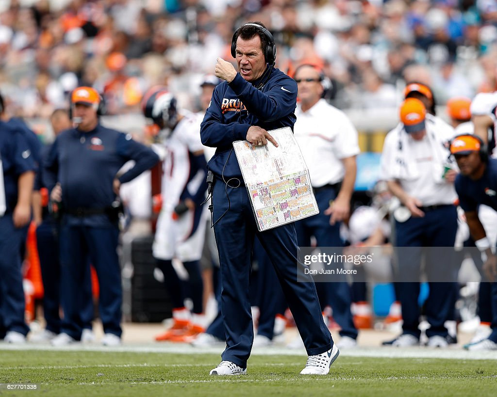Head Coach Gary Kubiak of the Denver Broncos on the sidelines during the game against the Jacksonville Jaguars at EverBank Field on December 4, 2016 in Jacksonville, Florida. The Broncos defeated the Jaguars 20 to 10.