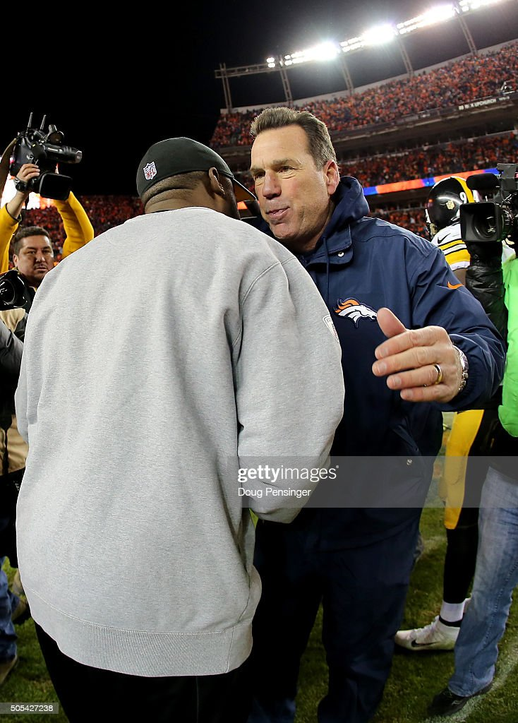 Head coach <a gi-track='captionPersonalityLinkClicked' href=/galleries/search?phrase=Gary+Kubiak&family=editorial&specificpeople=614731 ng-click='$event.stopPropagation()'>Gary Kubiak</a> of the Denver Broncos shakes hands with head coach <a gi-track='captionPersonalityLinkClicked' href=/galleries/search?phrase=Mike+Tomlin&family=editorial&specificpeople=749087 ng-click='$event.stopPropagation()'>Mike Tomlin</a> of the Pittsburgh Steelers after the AFC Divisional Playoff Game at Sports Authority Field at Mile High on January 17, 2016 in Denver, Colorado.