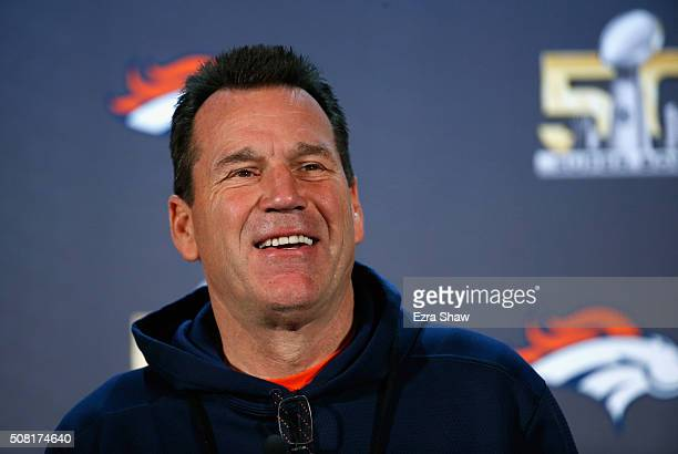 Head coach Gary Kubiak of the Denver Broncos speaks to the media during the Broncos media availability for Super Bowl 50 at the Santa Clara Marriott...