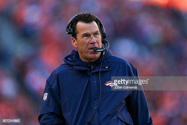 Head coach Gary Kubiak of the Denver Broncos walks along the sideline during a game against the Oakland Raiders at Sports Authority Field at Mile...