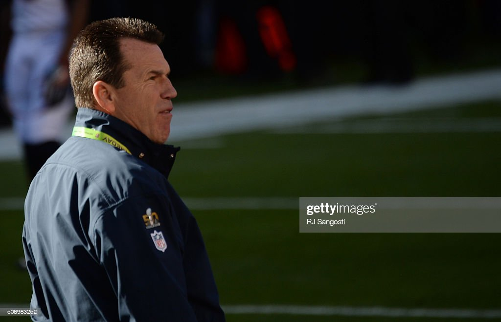 Head coach Gary Kubiak of the Denver Broncos walks on the field prior to the start of the game. The Denver Broncos played the Carolina Panthers in Super Bowl 50 at Levi's Stadium in Santa Clara, Calif. on February 7, 2016.