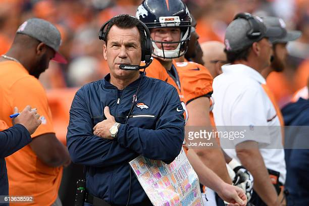 Head coach Gary Kubiak of the Denver Broncos walks the sidelines against the Atlanta Falcons during the second quarter The Denver Broncos hosted the...