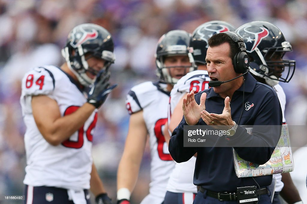 Head coach <a gi-track='captionPersonalityLinkClicked' href=/galleries/search?phrase=Gary+Kubiak&family=editorial&specificpeople=614731 ng-click='$event.stopPropagation()'>Gary Kubiak</a> of the Houston Texans motions from the sidelines during the first half of their 30-9 loss to the Baltimore Ravens at M&T Bank Stadium on September 22, 2013 in Baltimore, Maryland.