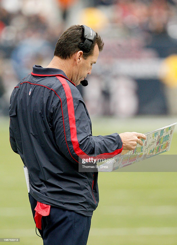 Head coach Gary Kubiak of the Houston Texans stands on the sidelines during the game against the Jacksonville Jaguars on November 18, 2012 at Reliant Stadium in Houston, Texas.