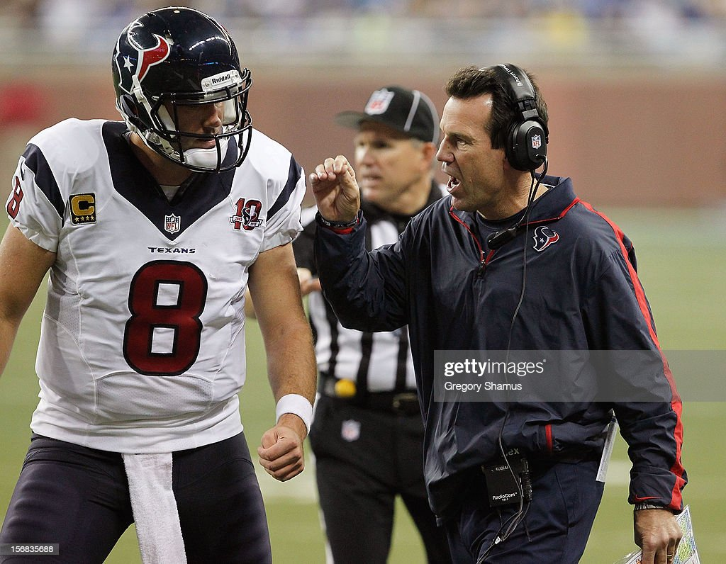 Head coach Gary Kubiak of the Houston Texans talks with Matt Schaub #8 while playing the Detroit Lions at Ford Field on November 22, 2012 in Detroit, Michigan. Houston won the game 34-31.
