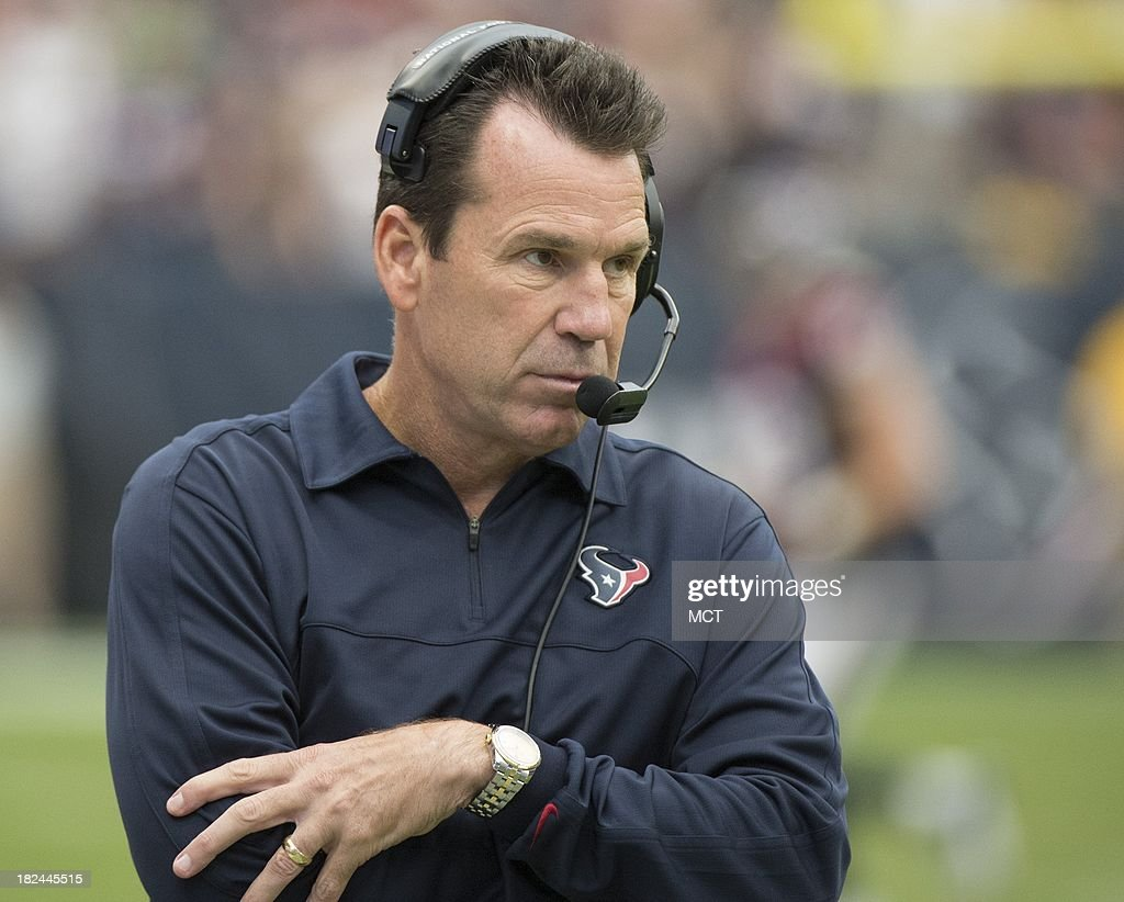 Head coach Gary Kubiak of the Houston Texans walks the sidelines in the second half of a 23-20 Seattle overtime victory on Sunday, September 29, 2013, in Houston, Texas.