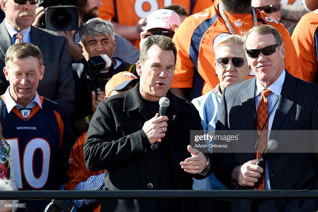 Head coach Gary Kubiak speaks during the Denver Broncos Super Bowl championship celebration and parade on Tuesday February 9, 2016.