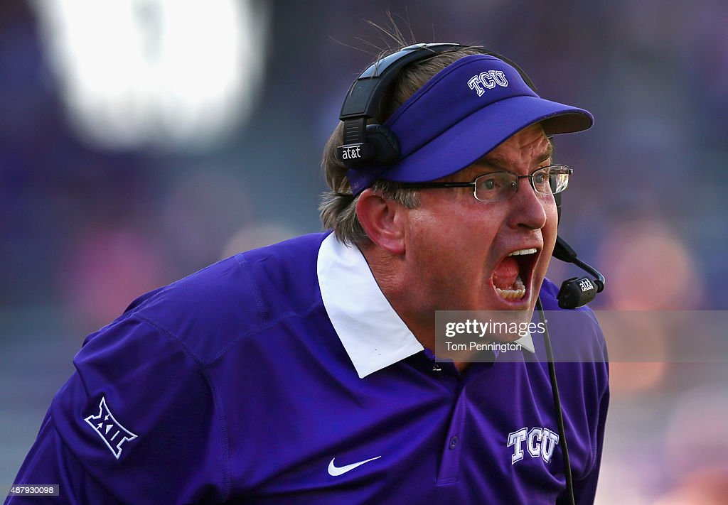 Head coach <a gi-track='captionPersonalityLinkClicked' href=/galleries/search?phrase=Gary+Patterson&family=editorial&specificpeople=2248368 ng-click='$event.stopPropagation()'>Gary Patterson</a> of the TCU Horned Frogs leads his team against the Stephen F. Austin Lumberjacks in the secodn half at Amon G. Carter Stadium on September 12, 2015 in Fort Worth, Texas.