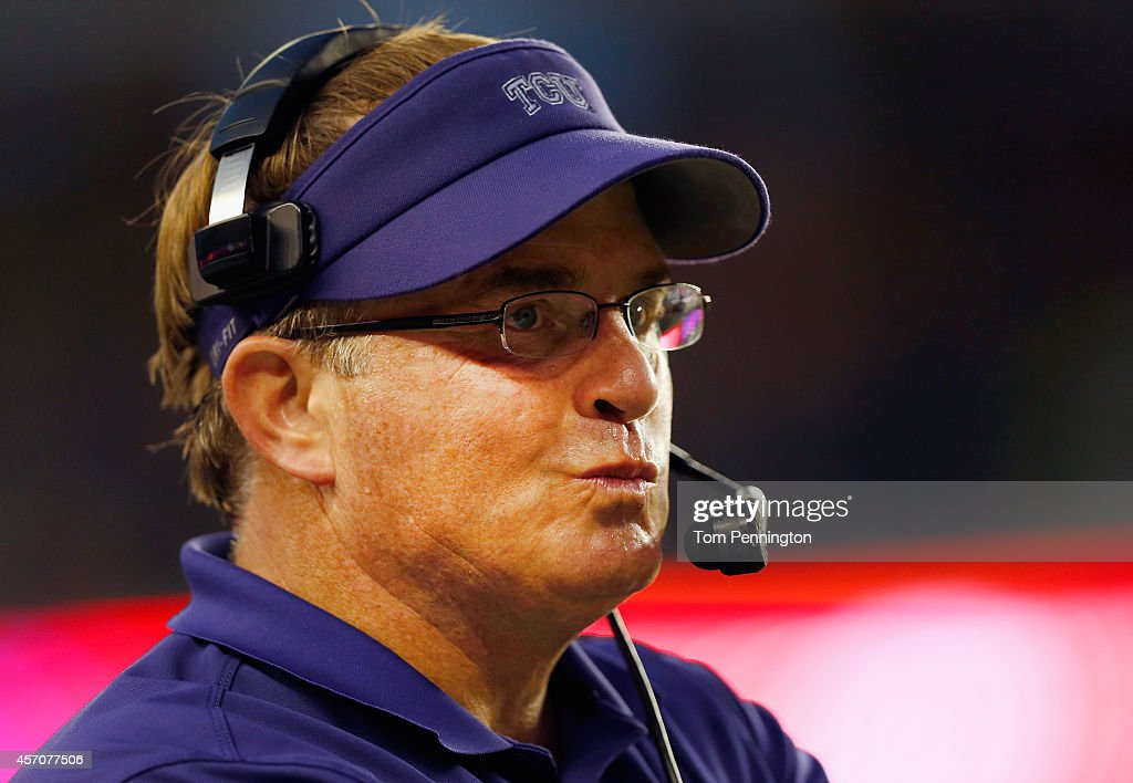 Head coach <a gi-track='captionPersonalityLinkClicked' href=/galleries/search?phrase=Gary+Patterson&family=editorial&specificpeople=2248368 ng-click='$event.stopPropagation()'>Gary Patterson</a> of the TCU Horned Frogs looks on as the Baylor Bears push the ball down field late in the fourth quarter at McLane Stadium on October 11, 2014 in Waco, Texas.