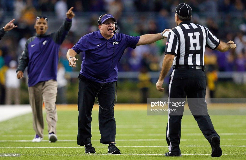 Head coach <a gi-track='captionPersonalityLinkClicked' href=/galleries/search?phrase=Gary+Patterson&family=editorial&specificpeople=2248368 ng-click='$event.stopPropagation()'>Gary Patterson</a> of the TCU Horned Frogs react to a call as the Horned Frogs take on the Baylor Bears in the second half at McLane Stadium on October 11, 2014 in Waco, Texas.