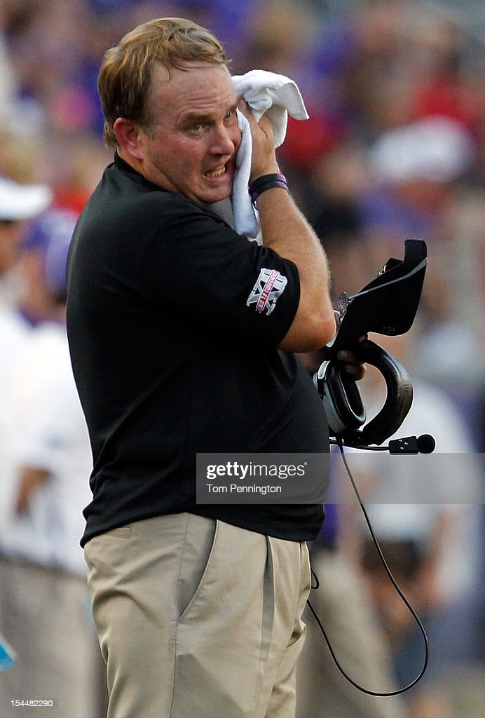 Head coach <a gi-track='captionPersonalityLinkClicked' href=/galleries/search?phrase=Gary+Patterson&family=editorial&specificpeople=2248368 ng-click='$event.stopPropagation()'>Gary Patterson</a> of the TCU Horned Frogs reacts after the Texas Tech Red Raiders made a first down in the fourth quarter at Amon G. Carter Stadium on October 20, 2012 in Fort Worth, Texas. The Texas Tech Red Raiders beat the TCU Horned Frogs 56-53 in triple overtime.