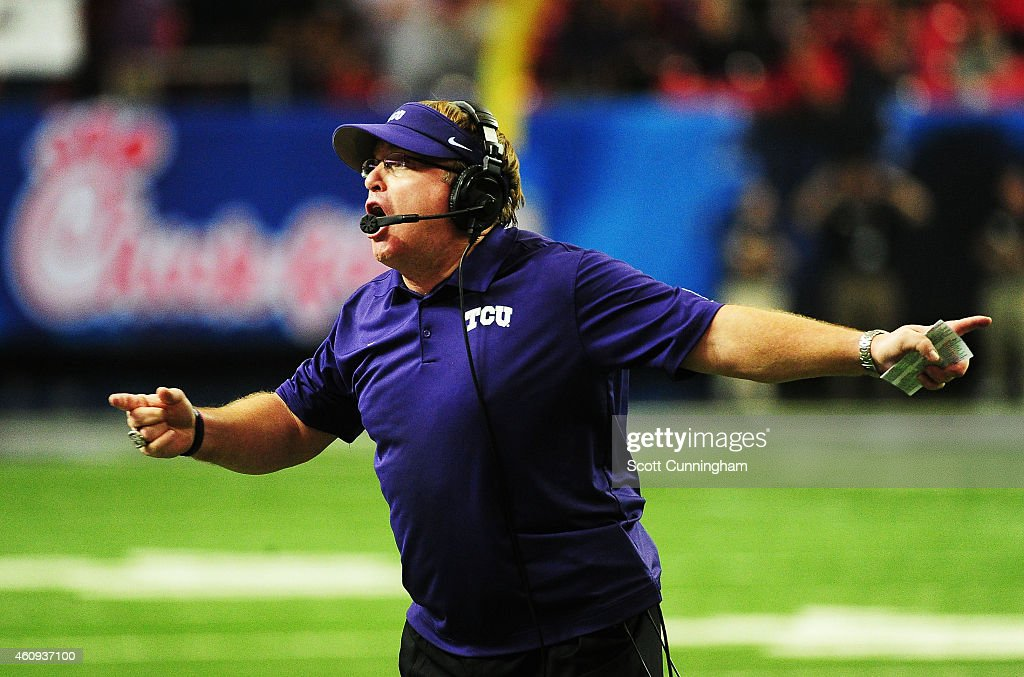 Head coach <a gi-track='captionPersonalityLinkClicked' href=/galleries/search?phrase=Gary+Patterson&family=editorial&specificpeople=2248368 ng-click='$event.stopPropagation()'>Gary Patterson</a> of the TCU Horned Frogs reacts in the second quarter against the Ole Miss Rebels during the Chik-fil-A Peach Bowl at Georgia Dome on December 31, 2014 in Atlanta, Georgia.