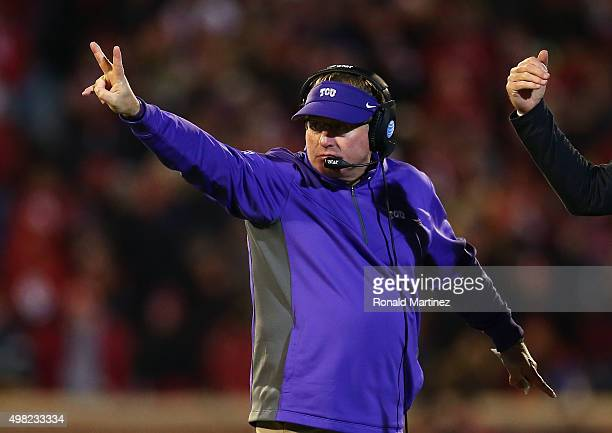 Head coach Gary Patterson of the TCU Horned Frogs signals for a twopoint conversion attempt against the Oklahoma Sooners in the fourth quarter at...