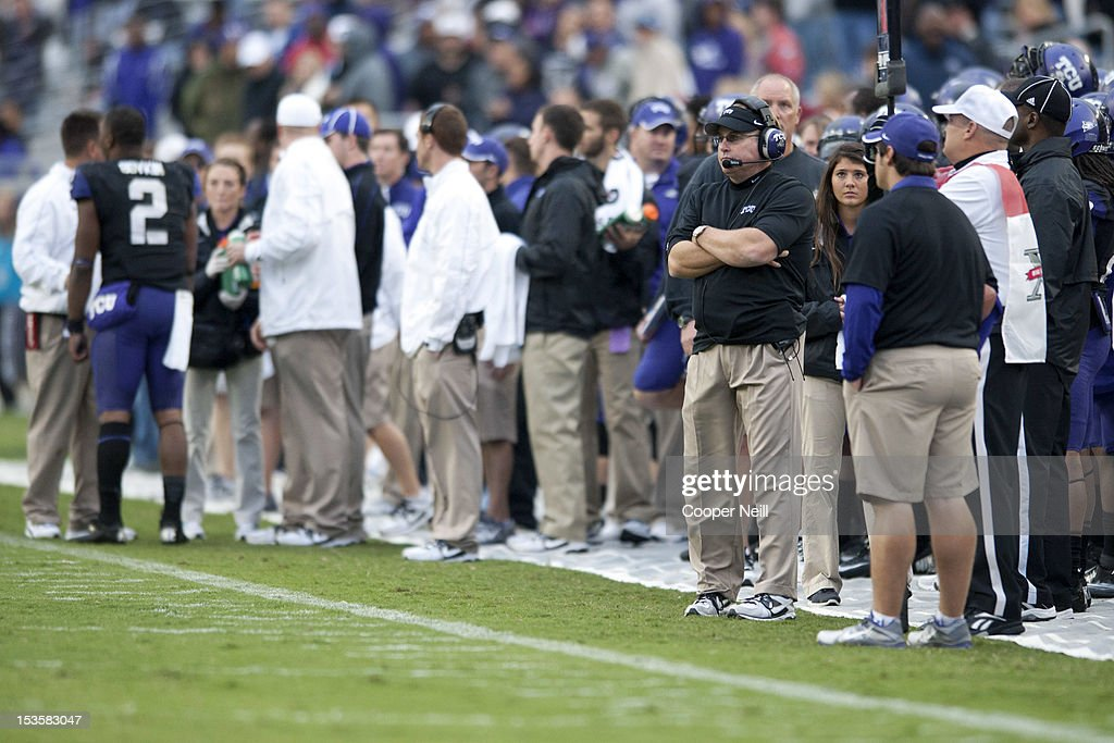 Head coach <a gi-track='captionPersonalityLinkClicked' href=/galleries/search?phrase=Gary+Patterson&family=editorial&specificpeople=2248368 ng-click='$event.stopPropagation()'>Gary Patterson</a> of the TCU Horned Frogs watches from the sideline during the Big 12 Conference game against the Iowa State Cyclones on October 6, 2012 at Amon G. Carter Stadium in Fort Worth, Texas.