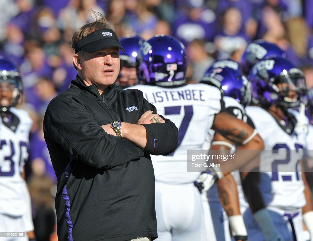 Head coach <a gi-track='captionPersonalityLinkClicked' href=/galleries/search?phrase=Gary+Patterson&family=editorial&specificpeople=2248368 ng-click='$event.stopPropagation()'>Gary Patterson</a> of the TCU Horned Frogs watches his team before a game against the Kansas State Wildcats on November 16, 2013 at Bill Snyder Family Stadium in Manhattan, Kansas.