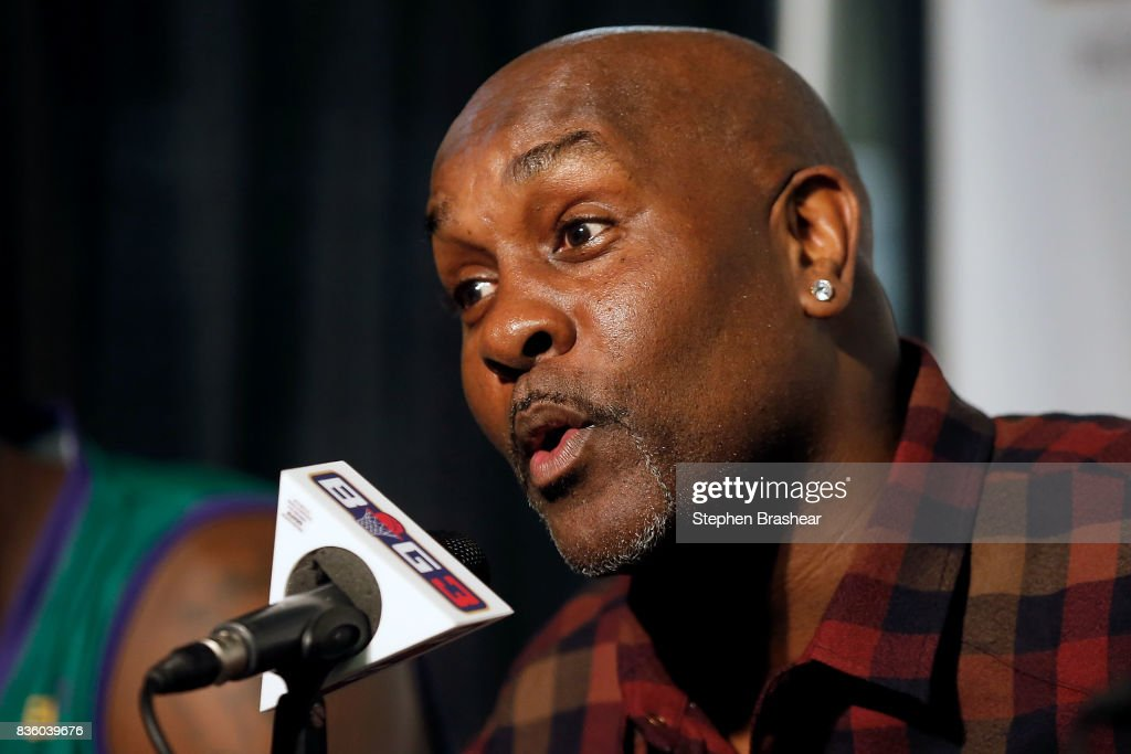 Head coach Gary Payton of the 3 Headed Monsters addresses the media after winning the semi finals against the Power in week nine of the BIG3 three-on-three basketball league at KeyArena on August 20, 2017 in Seattle, Washington.
