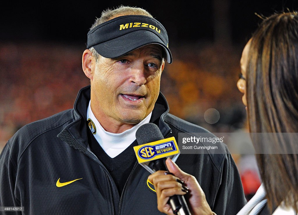 Head Coach <a gi-track='captionPersonalityLinkClicked' href=/galleries/search?phrase=Gary+Pinkel&family=editorial&specificpeople=2109950 ng-click='$event.stopPropagation()'>Gary Pinkel</a> of the Missouri Tigers is interviewed at halftime of the game against the Georgia Bulldogs on October 17, 2015 in Atlanta, Georgia.