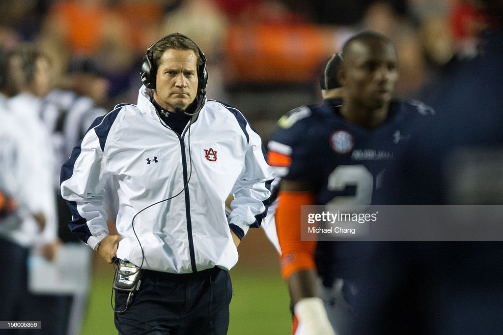 Head coach <a gi-track='captionPersonalityLinkClicked' href=/galleries/search?phrase=Gene+Chizik&family=editorial&specificpeople=5373225 ng-click='$event.stopPropagation()'>Gene Chizik</a> of the Auburn Tigers paces on the sideline during their game against the Georgia Bulldogs on November 10, 2012 at Jordan-Hare Stadium in Auburn, Alabama. Georgia defeated Auburn 38-0 and clinched the SEC East division.