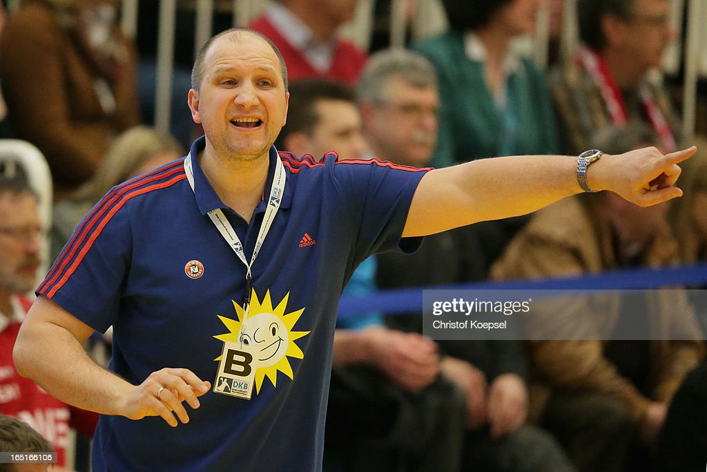 Head coach Gennadij Chalepo of Tus N-Luebbecke during the DKB Handball Bundesliga match between TUSEM Essen and Tus N-Luebbecke at the Sportpark Am Hallo on March 31, 2013 in Essen, Germany.