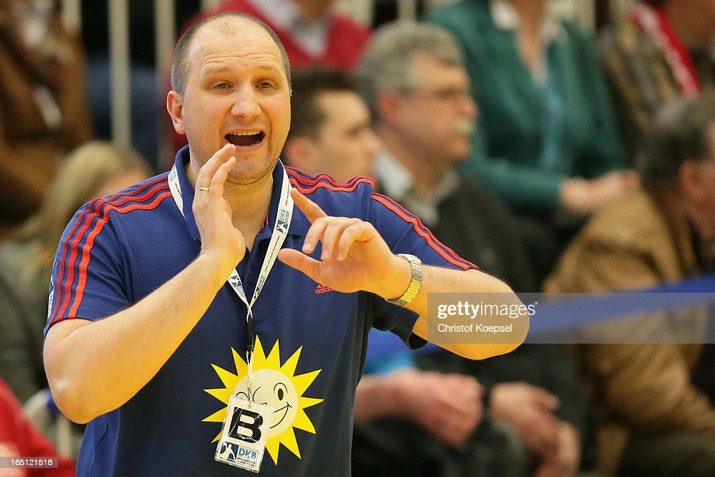 Head coach Gennadij Chalepo of Tus N-Luebbecke shouts during the DKB Handball Bundesliga match between TUSEM Essen and Tus N-Luebbecke at the Sportpark Am Hallo on March 31, 2013 in Essen, Germany.