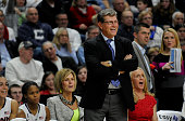 Head coach Geno Auriemma and the Connecticut bench are all happy with the play late in a 9864 win against DePaul at the Webster Bank Arena in...