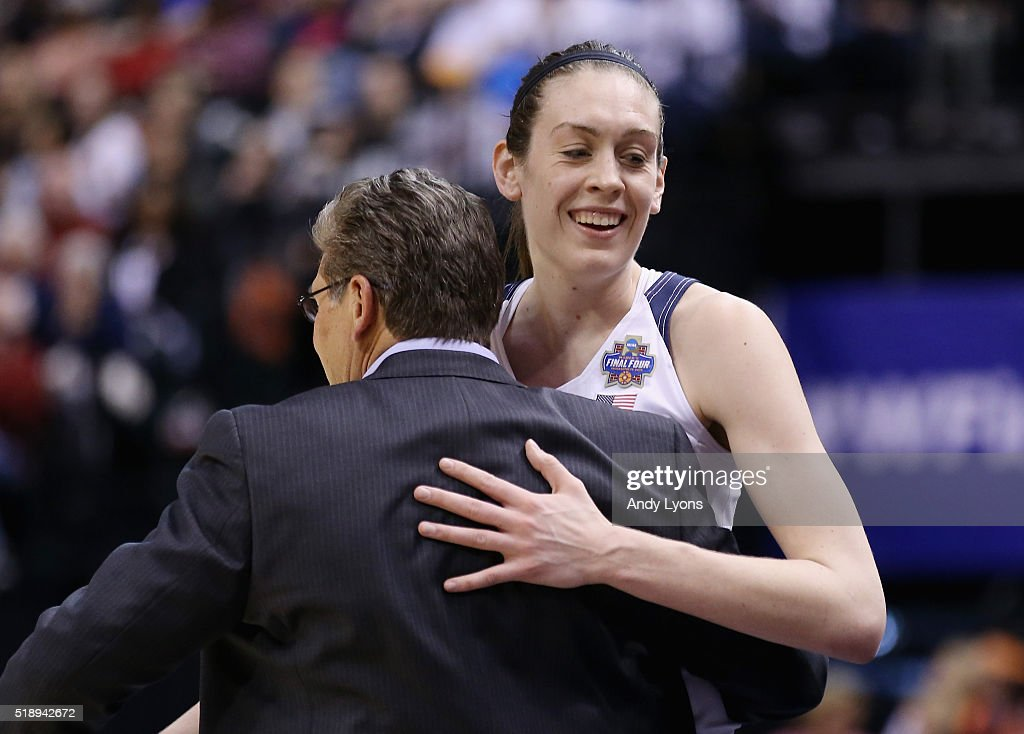 Head coach <a gi-track='captionPersonalityLinkClicked' href=/galleries/search?phrase=Geno+Auriemma&family=editorial&specificpeople=704607 ng-click='$event.stopPropagation()'>Geno Auriemma</a> of the Connecticut Huskies and <a gi-track='captionPersonalityLinkClicked' href=/galleries/search?phrase=Breanna+Stewart&family=editorial&specificpeople=8564806 ng-click='$event.stopPropagation()'>Breanna Stewart</a> #30 celebrate their 80-51 win over the Oregon State Beavers during the semifinals of the 2016 NCAA Women's Final Four Basketball Championship at Bankers Life Fieldhouse on April 3, 2016 in Indianapolis, Indiana.