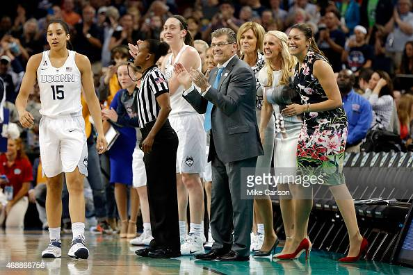 Head coach Geno Auriemma of the Connecticut Huskies and the bench react against the Notre Dame Fighting Irish during the NCAA Women's Final Four...