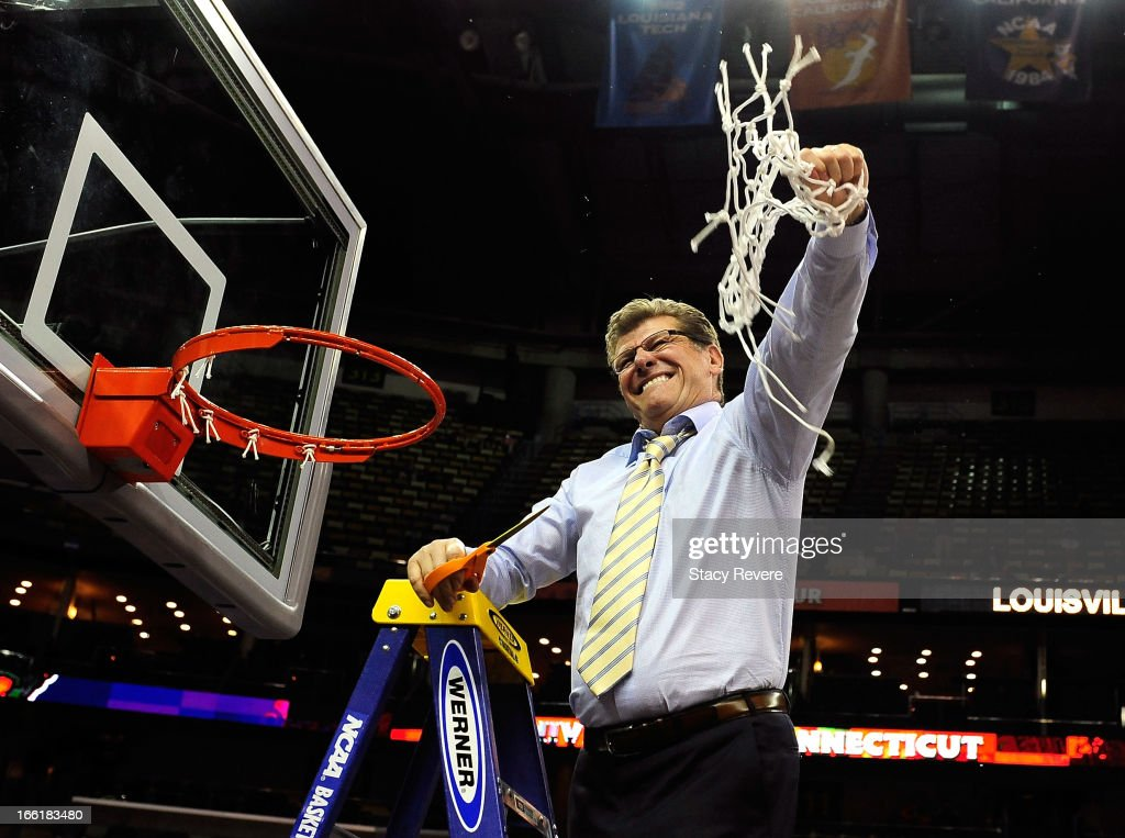 Head coach Geno Auriemma of the Connecticut Huskies cuts down the net after defeating the Louisville Cardinals during the 2013 NCAA Women's Final Four Championship at New Orleans Arena on April 9, 2013 in New Orleans, Louisiana.
